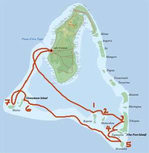 map of Aitutaki showing 7 Wonders cruise itinerary